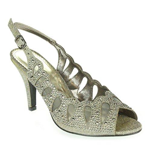 Frau Damen Strass Schimmer Seite Schnitt Peep Toe Mittlere Absatz Abend Hochzeit Party Prom Sandalen Schuhe Größe Zinn.