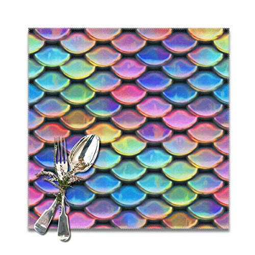 Rainbow Scales Unique BeautifulDecorative Polyester Placemats Set of 6 Printed Square Plate Cushion Kitchen Table Heat-Resistant Washable Dining Room Family Children -
