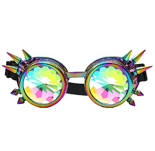 Amcool Unisex Bunte Steampunk Kaleidoskop Gläser Festival Party EDM Diffracted Objektiv Brillen (Mehrfarbig)
