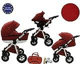 Quero - 3 in 1 Reisesystem einschließlich Kinderwagen mit schwenkbaren Rädern, Kinderautositz, Buggy und Zubehör (3 in 1 Reisesystem, Leinenmaterial Nr. 8)