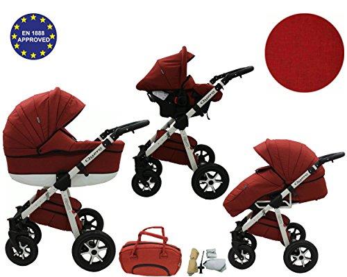 Quero, Edizione da lino - 3-in-1 Travel System con carrozzina, seggiolino auto, passeggino sportivo e accessori CON RUOTE GIREVOLI ... (3-in-1 Travel System, materiale di lino n. 8)