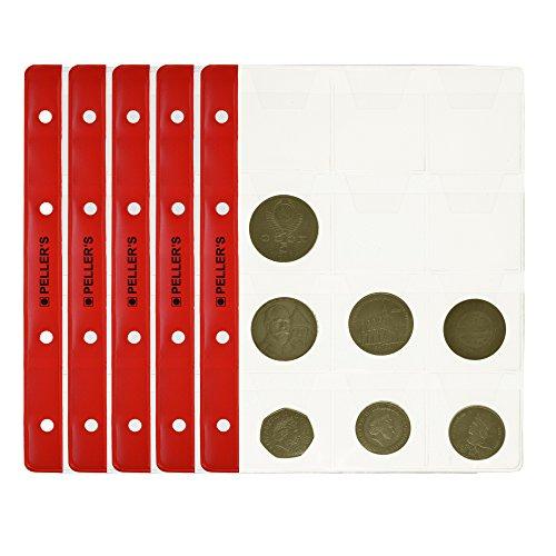 PELLER'S Hojas 12 compartimentos monedas: 46mm X 50mm