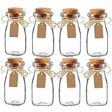 Awtlife - Juego de 15 tarros de leche, de cristal, vintage, con tapones