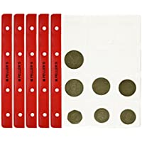 PELLER'S 10 Feuilles pour Collection de pièces de Monnaie, 46mm X 50mm (pour classeur M). 12 Pochettes pour Monnaies jusqu'à 40 mm de diamètre.
