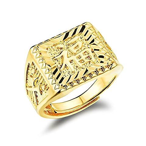 Fate Love Bijoux Hommes de luxe haute polonais 18K plaqué or chinois Fu Bague ouverte emballage Boîte Cadeau