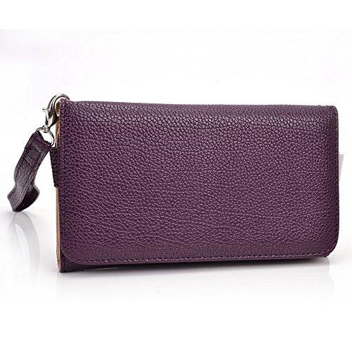 Kroo d'embrayage avec dragonne Portefeuille 16cm Smartphones et phablettes pour Maxwest Orbit 6200/Orbit 6200T/Gravité 6 Multicolore - jaune Violet - violet