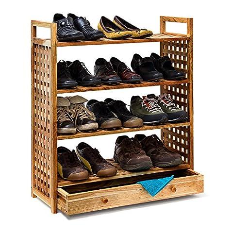 Relaxdays Walnut Shoe Shelf With Drawer and 4 Shelves, Wood,