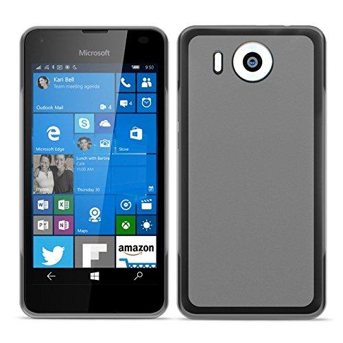 Conie Basic Cover kompatibel mit Microsoft Lumia 950 XL, Silikon Rückschale mit Druckknöpfe und Rutschfeste Oberfläche Schutzhülle in Transparent