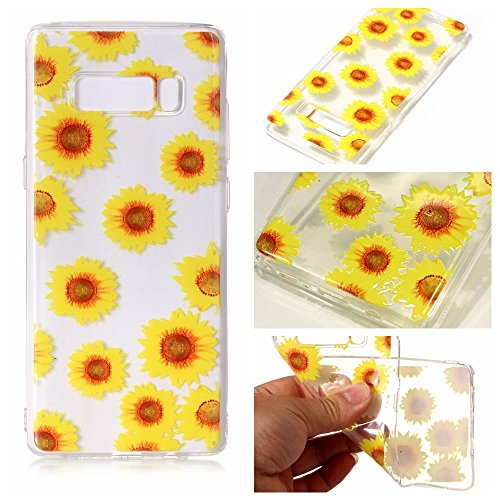 inShang Samsung Galaxy Note 8 custodia cover del cellulare, Anti Slip, ultra sottile e leggero, custodia morbido realizzata in materiale del TPU, frosted shell , conveniente cell phone case per Galaxy Sunflower