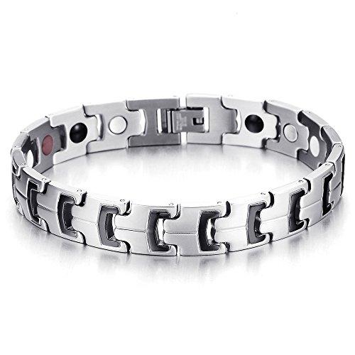 COOLSTEELANDBEYOND Therapie Magnetische Herren Armband Edelstahl, Energien Magneten Germanium, Schwarz Silber, Link-Tool zum Entfernen