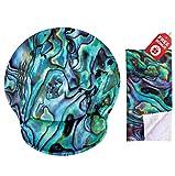 Green Abalone Seashell Stampa Mouse pad ergonomico con supporto per il polso. Rotonda grande area del mouse. Panno per pulizia in microfibra coordinato. Ottimo per il gioco e il lavoro