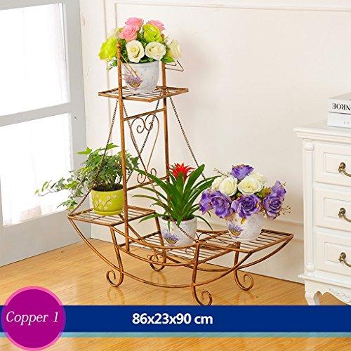 Escalier en fleur de fer Porte-pot à fleurs Salon extérieur Balcon Porte-fleurs (86 * 23 * 90cm) (Couleur : Copper 2)