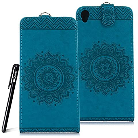 Case for SONY Xperia Z3 wallet Embossed Flowers case,SONY Xperia Z3 Ceramic pattern flip cover,BtDuck protective case Blue shell Retro Buddhism Solid color special Vertical opening skin Case for Open vertically Holster Full-body protection machine Totem Anti-scratch Shock Resistant Strong magnetic buckle Magnet Closure [with Lanyard Strap / Rope] Credit Card/Cash Holder Slot - Blue