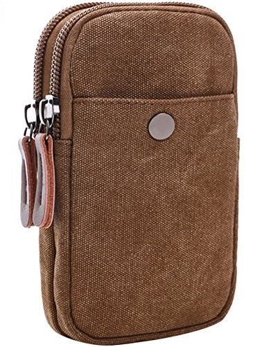 Menschwear Canvas Universal Multipurpose Kapazität Oversize EDC Tasche Tactical Pouches Smartphone Holster Security Pack Carry Accessory Kit Pouch Belt Loops Waist Tasche Gadget Money Pocket Kaffee (Leinwand Attache)