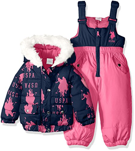 U.S. Polo Assn. Baby Girls' Snow Suit (More Styles Available), Navy B, 12M (Us Polo Baby)