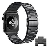 Apple Watch Edelstahl Armband,Simpeak Premium Band Straps für Apple Watch Series 1/2/3- Gr. 42 mm, Schwarz