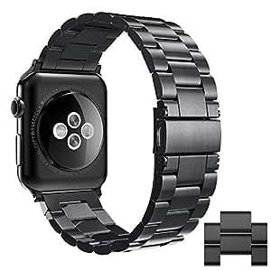 Simpeak Stainless Steel Band Strap for Apple Watch 42mm Series 1 Series 2 Series 3, Black
