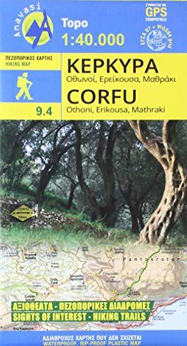 Corfu Wanderkarte 1 : 40 000 Topografische Wanderkarte 9.4 -
