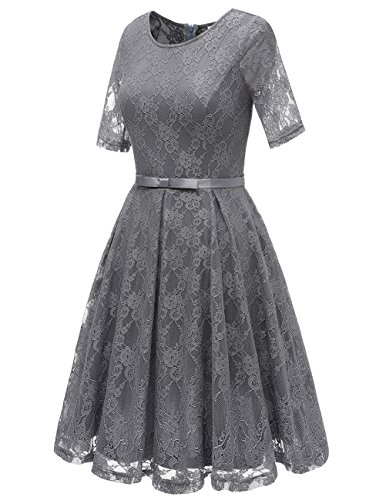 Bbonlinedress Damen Retro Vintage 1950er Rockabilly Cocktail Spitzenkleid Grey 2XL - 2