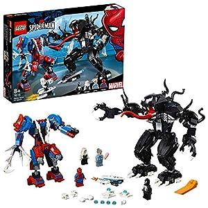 LEGO Super Heroes Robot-Araña vs. Venom, juguete de construcción para recrear las aventuras de Spider Man, incuye tambien minifigura de la Tía May (76115)