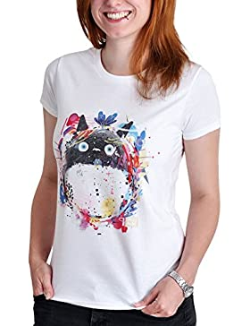 Totoro Toneko damas camiseta para el algodón blanco animado