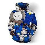 CLOTHING Felpe con Cappuccio per Uomo E Donna Moda Casual Stampa Maglione 3D Popolare Blue-+XXXXXL