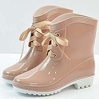 ZHZNVX HSXZ Chaussures pour femmes Bottes d'hiver Bottes Neige PU Télévision bout rond pour Rivet noir décontracté kaki marron, marron, US8/EU39/UK6/CN39