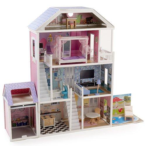 Mamakiddies casa delle bambole a 4 piani in legno for Piani di progettazione di mobili in legno