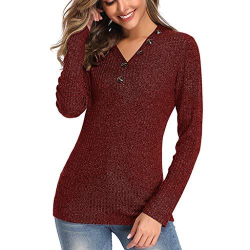 QIMANZI Sweatshirt Damen Seitliche Tasten Langarmshirt Pullover Lässige Rundhals Ellenbogen Gepatcht Hemd Gestrickt T Shirt Blusen Tunika Top(A Wein,XL) -