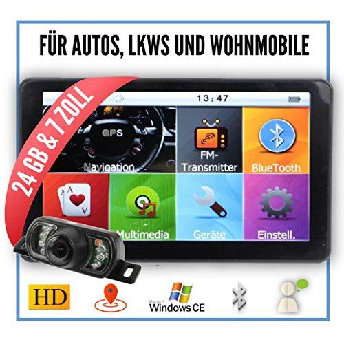 Elebest City 70K Navigationsgerät 17,8cm 7 Zoll,24 GB Speicher,PKW,LKW&Wohnmobil,Funk Rückfahrkamera,Bluetooth,Fahrspurassistent,Neuste Karten sowie Radarwarner