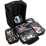 Unho®Kosmetikkoffer Trolley Make up Koffer Nylon Groß professionelle Kosmetik Schminken reisen Schiebkarre mit 6 Aufbewahrungstaschen