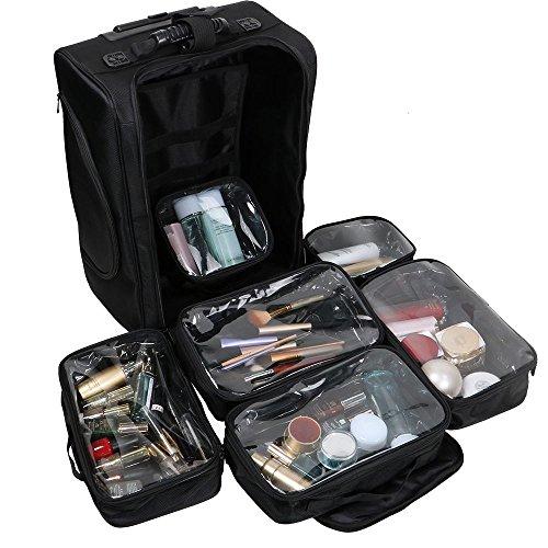 Maleta Maquillaje Profesional de Nylon Neceser Organizaodor Grande de Cosméticos con 6 Bolsillos Transparentes 2 Ruedas para Viaje Artistas Maquilladores Profesionales Peluquería 35.1x22x46.5cm