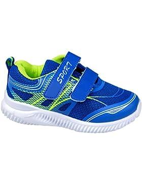 GIBRA® Kinder Sportschuhe, mit Klettverschluss, blau/neongrün, Gr. 26-36
