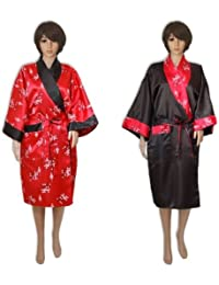 Peignoir satin, kimono, robe de chambre, tunique, réversible, rouge
