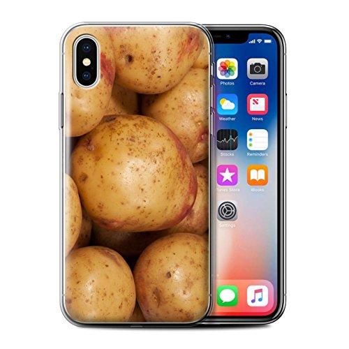 Stuff4 Gel TPU Hülle / Case für Apple iPhone X/10 / Oliven Muster / Lebensmittel Kollektion Kartoffel