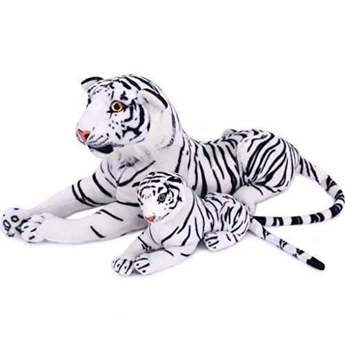 VerCart Jouet Peluche Tigre Enorme Tigre Blanc 70cm (Sans mesuration de queue) Jouets Enfant Peluche Animal -Petit Offert