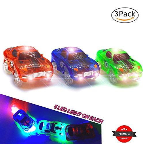 Spielzeug Auto,MIGE Spielzeug Auto Spur Led Licht Auto Im Dunkeln Leuchten Zubehör Kompatibel mit den Meisten Auto Rennen Magic Tracks,Ideal Für Childs Geschenke(Packung von 3) (Rc Car Aufkleber-kit)