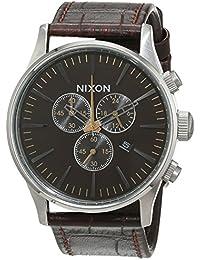 Nixon Herren-Armbanduhr XL Sentry Chrono Chronograph Quarz Leder A4051887-00