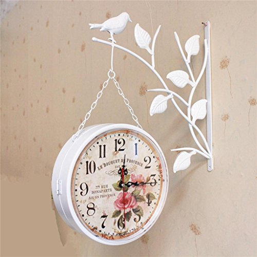 Sided Double Clock Wall (Iron Bird Wanduhr Doppel Wohnzimmer Wohnzimmer Mute Uhren auf beiden Seiten der Metall Wanduhr , 001)