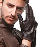 Nappaglo Herren Handschuhe aus echtem Nappaleder Wnter Warme Handschuhe mit Langes Fleecefutter (L (Umfang der Handfläche:21.6-22.8cm), Dunkelbraun(Non-Touchscreen))