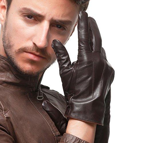 l'écran tactile nappaglo les gants de cuir véritable hiver chaud nappa conduite mittens avec garniture de pur cachemire (xl (palm corpulence:20.3-21.6cm), brun foncé (sans écran))