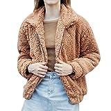 JURTEE Damen Winter Plüschjacke Pulli Mantel Warm Tasche Flauschige Vlies Pelz Jacke Oberbekleidung Sweatshirts Wickeln mit Reißverschluss Outwear(Large,Braun)