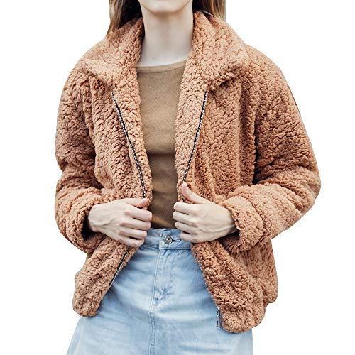 TianWlio Damen Mäntel Frauen Winter warme Tasche Flauschige Mantel Fleece Pelz Jacke Oberbekleidung Hoodies Wrap
