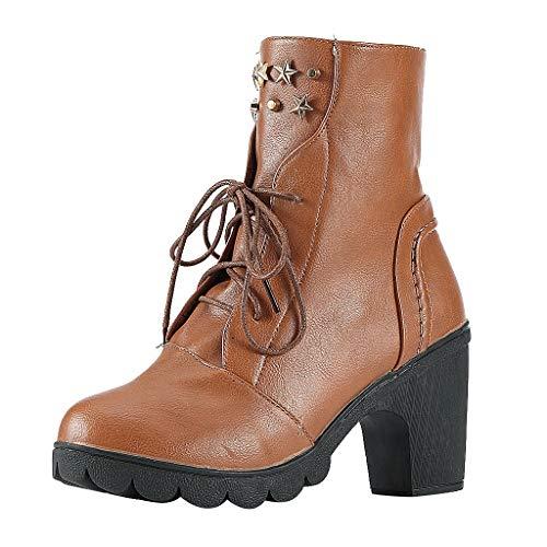 Geilisungren Damen Schnürstiefel Halbschaft Stiefel High Heels Stiefeletten Lederstiefel mit Blockabsatz Übergrößen Vintage Cowboy Motorradstiefel Wasserdicht Boots -