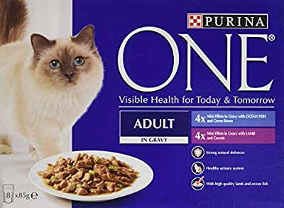 Purina ONE Adult Wet Cat Food Ocean Fish and Lamb Mini Fillets in Gravy, 8 x 85 g - Pack of 5