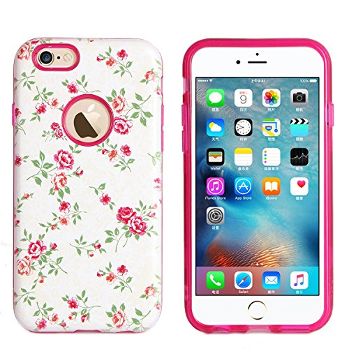 Coque iPhone 6S,iPhone 6 Housse en Silicone,Étui iPhone 6/6S Case,ETSUE iPhone 6S Coque en TPU Cover Housse de Téléphone,avec Créatif 2 in 1 Coque, Coloré 3D Case Noir Fond Joli Fleur de pêcher en Rel Fleur Rose