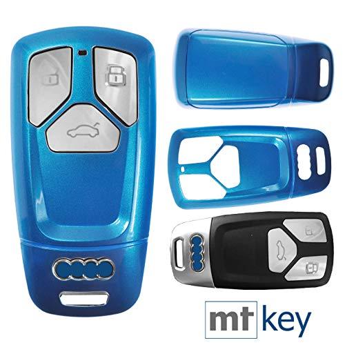 Keyless Auto Schlüssel Cover Hülle Smartkey Hartschale Blau für Audi A4 A5 A6 A7 TT Q2 Q5 Q7 A8 Q8
