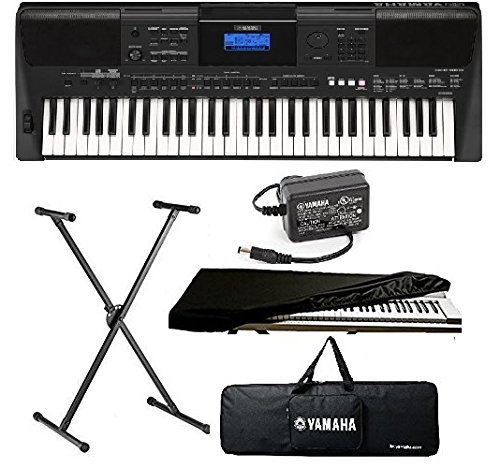 yamaha keyboard PSR-E453, 61 Keys Touch Sensitive Keyboard with Stand/Adapter/Bag and Dust Cover Combo Pack.