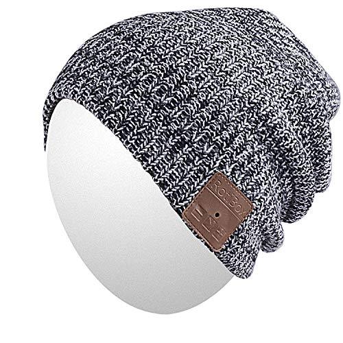 Qshell Wireless Bluetooth Beanie Hut Mütze mit Musikphone Speakerphone Stereo Kopfhörer Headset Kopfhörer Lautsprecher Mic für Fitness Outdoor Sport Skifahren Running Skating , Weihnachtsgeschenke -