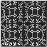Sparpaket Deckenmusterung Renovierung Optik Interior Verzierung 50x50cm, Nr.112, Inhalt:10 m² / 40 Platten, Farbe:schwarz-silber